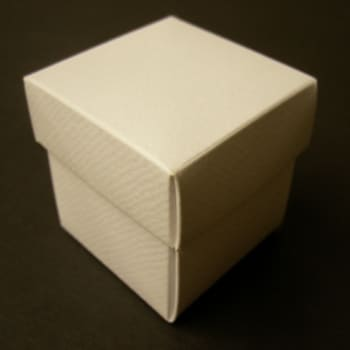 White Textured Favour Box with Lid-0