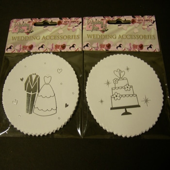 24 Pack Wedding Coasters in White with Silver-0