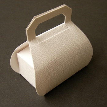 White Textured Handbag Favour Box-0