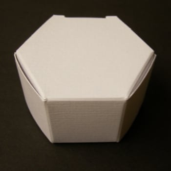 White Textured Hexagon Favour Box-0