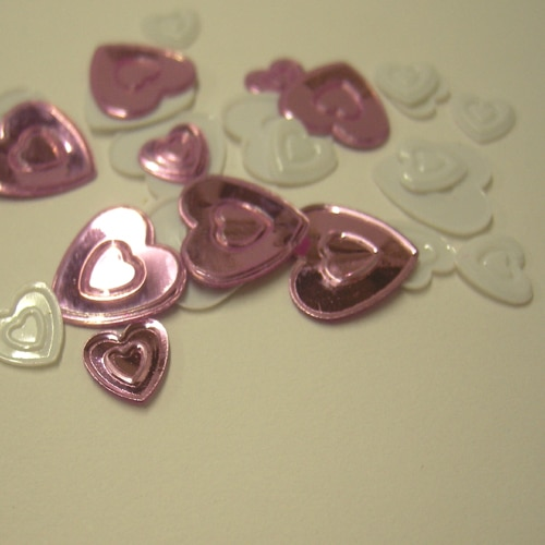 Dusky Pink & White Hearts Metallic Table Confetti-0