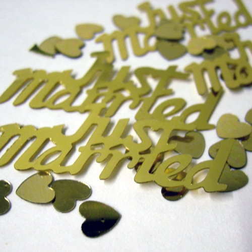 Gold Just Married Metallic Table Confetti-0
