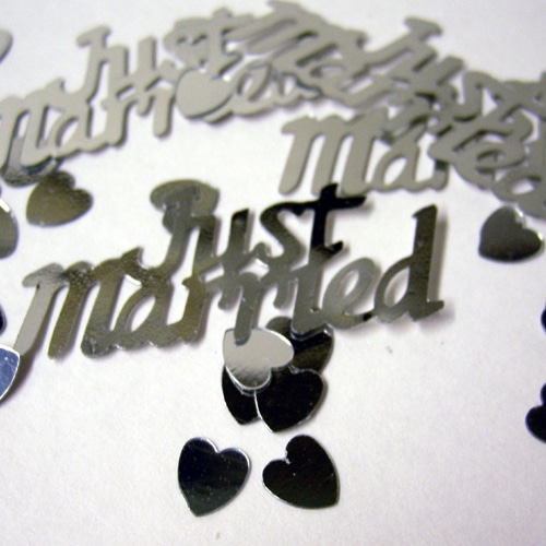 Silver Just Married Metallic Table Confetti-0