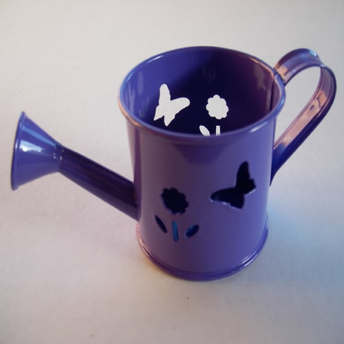 Mini Watering Can - Purple with Butterfly and Flower Cut-outs-0
