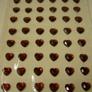 Diamante Self-Adhesive Heart Decoration Burgundy - Sheet of 48-0