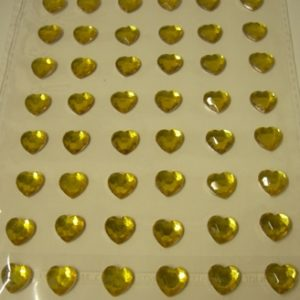 Diamante Self-Adhesive Heart Decoration Gold - Sheet of 48-0