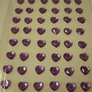 Diamante Self-Adhesive Heart Decoration Lilac - Sheet of 48-0