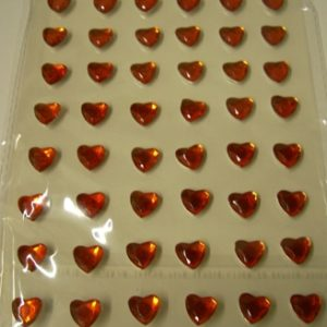 Diamante Self-Adhesive Heart Decoration Red - Sheet of 48-0