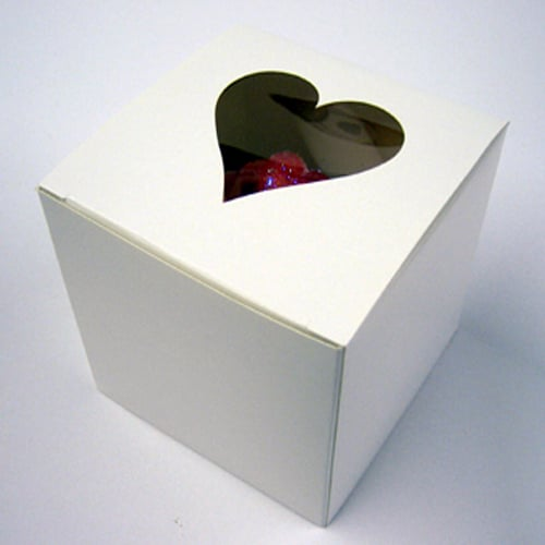 White Single Cupcake Box with Heart Window in the Lid and Incert-0