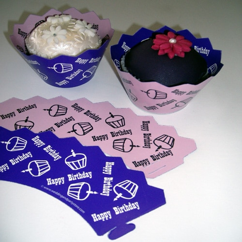 Birthday Purple/Lilac Cupcake Wrappers - Pack of 12-0