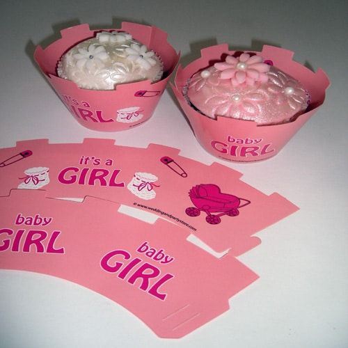 """""""Its a Girl"""" Baby Shower Cupcake Wrappers-0"""