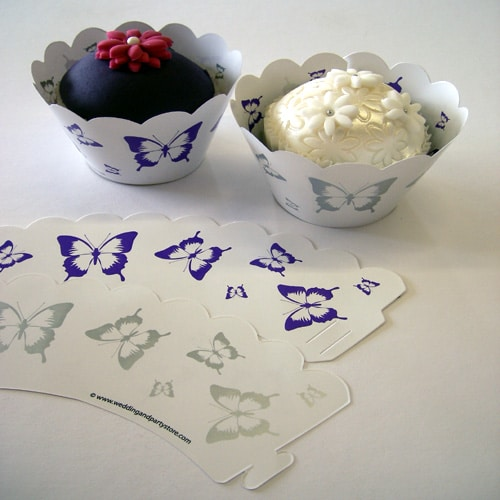 Purple & Silver Butterflies Cupcake Wrappers - Pack of 12-0