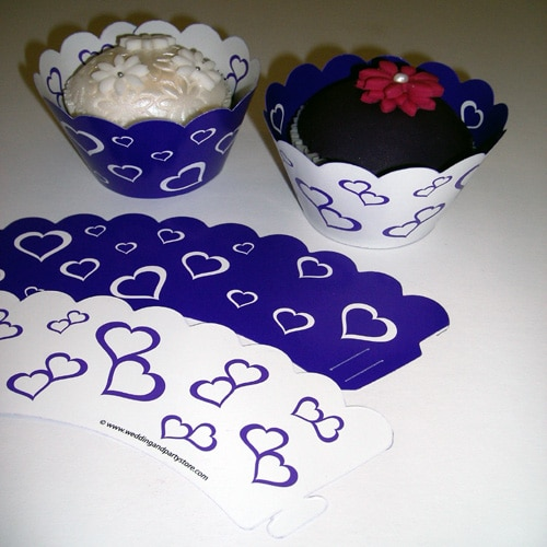 Purple Hearts Cupcake Wrappers - Pack of 12-0