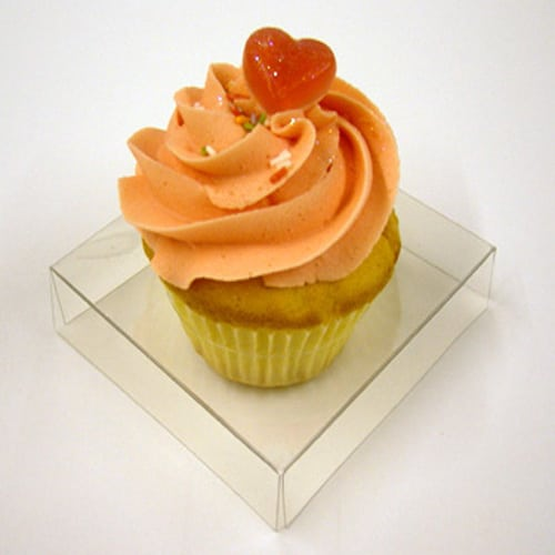 Clear Pvc Cupcake Box for 1 Cupcake 85mm x 85mm x 85mm Complete with Incert -2293
