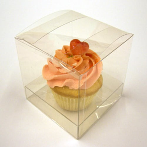 Clear Pvc Cupcake Box for 1 Cupcake 85mm x 85mm x 85mm Complete with Incert -2294