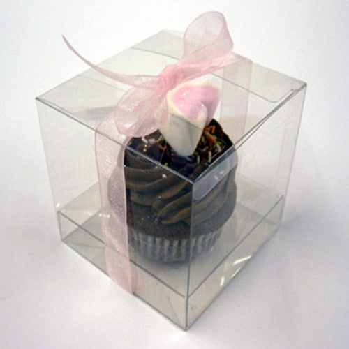 Clear Pvc Cupcake Box for 1 Cupcake 85mm x 85mm x 85mm Complete with Incert -2295
