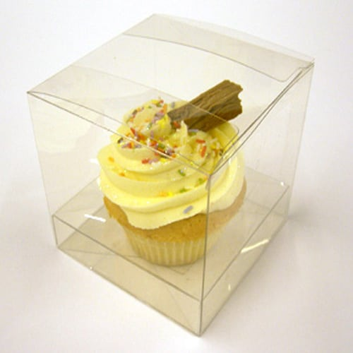 Clear Pvc Cupcake Box for 1 Cupcake 85mm x 85mm x 85mm Complete with Incert -2296