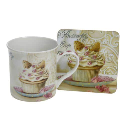 Butterfly Cupcakes Coaster and Mug Set - Gift Packed-0