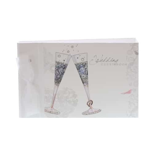 Hand Crafted Wedding Guest Book with Champagne Flutes - Can be Personalised-0