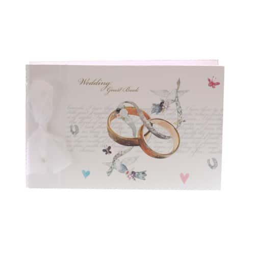 Hand Crafted Wedding Guest Book with Rings - Can be Personalised-0