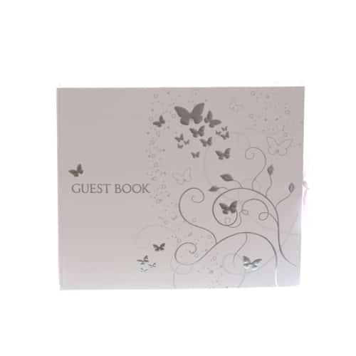 Guest Book with Silver Elegant Butterflies Design - Can be Personalised -0