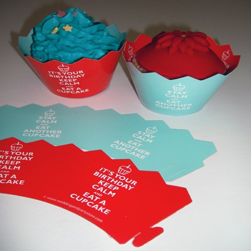 "Birthday ""Keep Calm"" Double Sided Cupcake Wrappers - pack of 12-0"