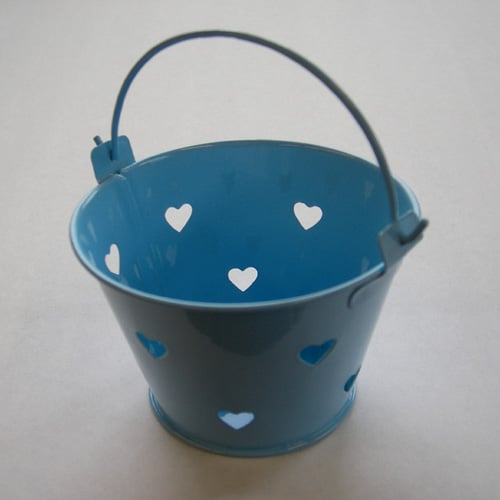 Baby Blue Mini Favour Pail with Heart Cut-outs-0