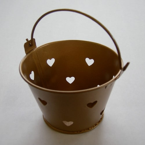 Gold Mini Favour Pail with Heart Cut-outs-0
