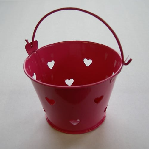 Hot Pink Mini Favour Pail with Heart Cut-outs-0