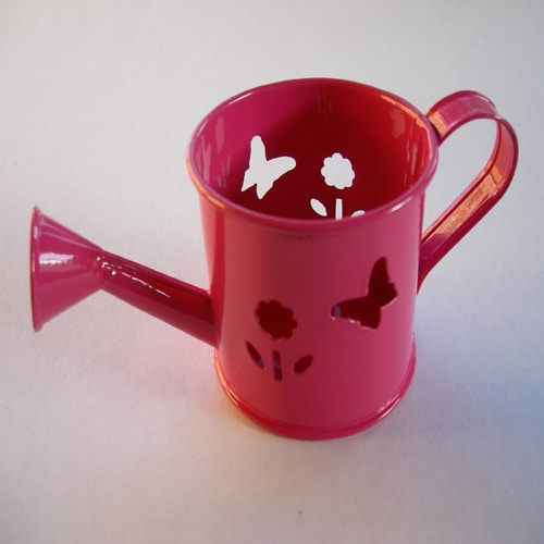 Mini Watering Can - Hot Pink with Butterfly and Flower Cut-Outs-0