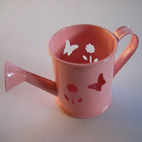 Mini Watering Can - Baby Pink with Butterfly and Flower Cut-Outs-0