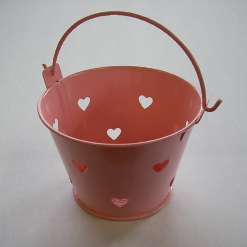 Baby Pink Mini Favour Pail with Heart Cut-outs -0