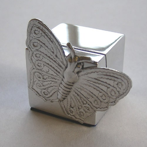 Butterfly Chrome Place Card Holder-0