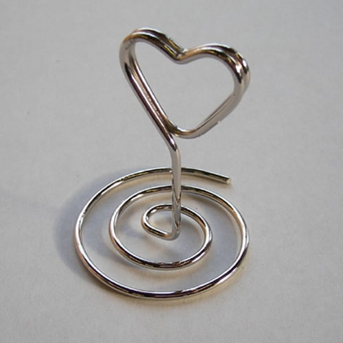Heart Swirl Chrome Place Card Holder-0