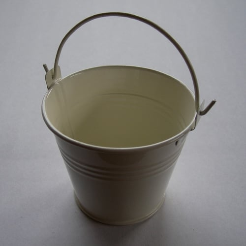 Ivory Mini Favour Pail with Handle -0