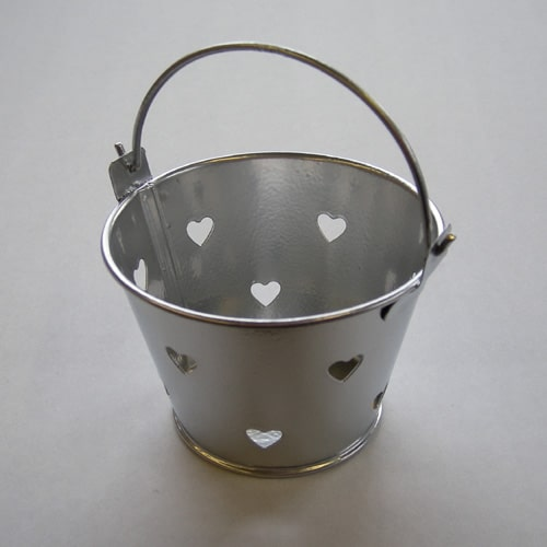 Silver Mini Favour Pail with Heart Cut-outs-0