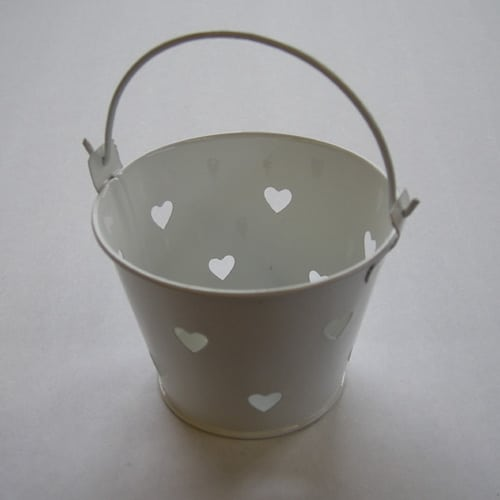 White Mini Favour Pail with Heart Cut-outs -0