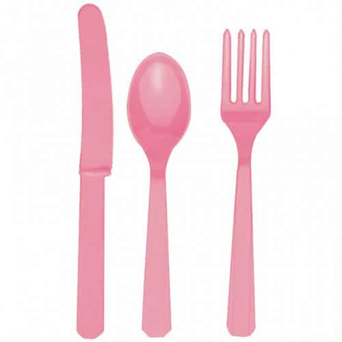 Pretty Pink Plastic Cutlery - Knives, Forks and Spoons for 8 Guests-0