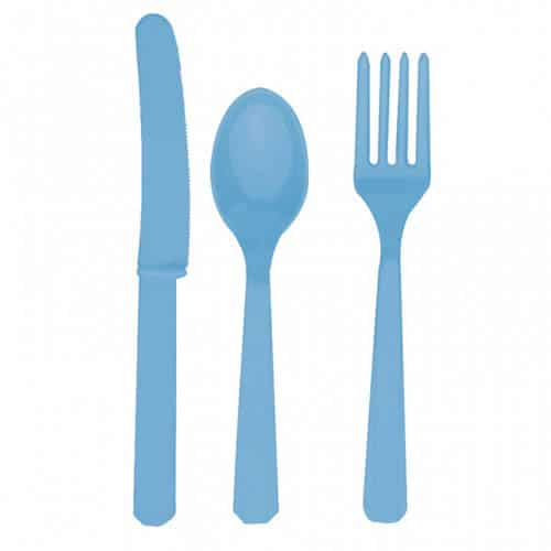 Powder Blue Plastic Cutlery - Knives, Forks and Spoons for 8 Guests -0
