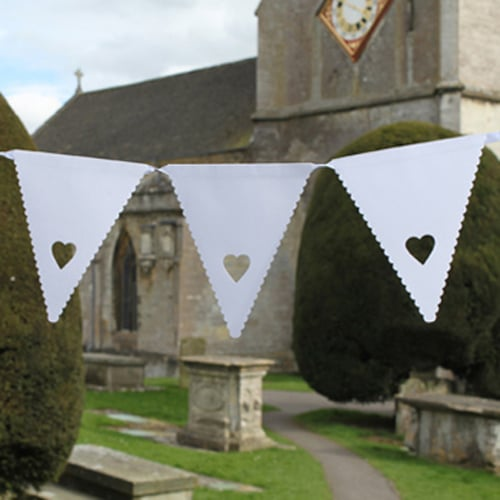 Heart Bunting - 16 White Pennants with Heart Detail-0