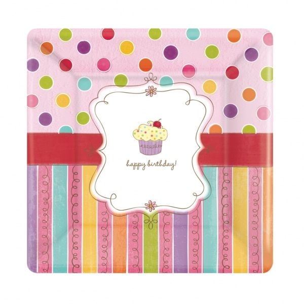 Sweet Stuff Plates with Cupcake Design - Pack of 8 -0