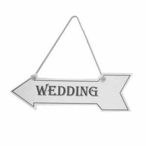 """White Wooden Hanging Arrow Sign """"Wedding""""-0"""