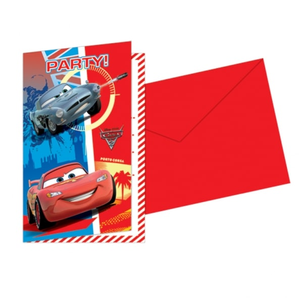 Disney Cars Invitations & Envelopes- Pack of 6 -0