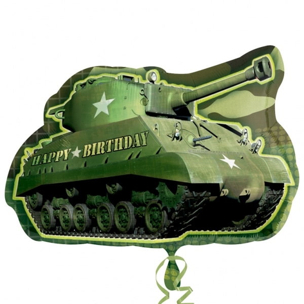"Camouflage Birthday Army Tank SuperShape Foil Balloon - 19""/48cm w x 26""/66cm h-0"