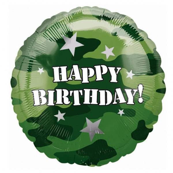 "Camouflage Happy Birthday Foil Balloon - 18""/45cm-0"