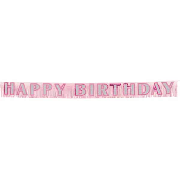 Birthday Pink Fringed Banner - 2.7m x 25.4cm -0