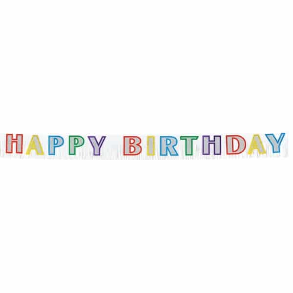 Birthday Multi Fringed Banner - 2.7m x 25.4cm-0