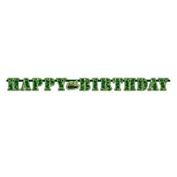 Happy Birthday Camouflage Illustrated Letter Banner - 2.2m x 17.7cm -0