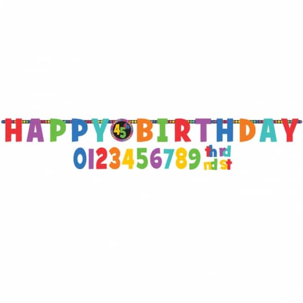 Dots & Stripes Add-An-Age Birthday Letter Banner -0