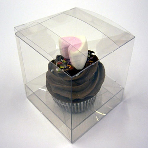 Clear Pvc Cupcake Box for 1 Cupcake 100mm x 100mm x 100mm with Incert-2701